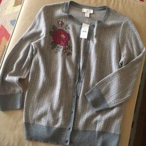 NWT Loft Outlet embroidered gray cardigan. M.